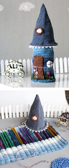 Knitting Pattern for Fairy Tale House Needle or Pencil Case - This roll up case is perfect for knitting needles or color pencils and looks like an enchanted cottage.House height is about 31 cm /12.2 inches/.