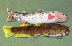 "Wildlife Artists RAINBOW TROUT & CATFISH Plush Stuffed 17"" Animal FISH Toys #WildlifeArtists"