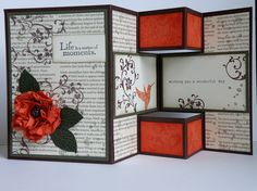 by Jane Blakeley (Australia) Nov 2012 -Cut 12 x 12 at 5 wide.the red boxs from the trifold cardd would be cute on a wall jus sayinElements of Style tri-foldTri-fold or tri-shutter cardDirections and measurements are here Tri Fold Cards, Fancy Fold Cards, Folded Cards, 3d Cards, Pop Up Cards, Karten Diy, Step Cards, Interactive Cards, Up Book