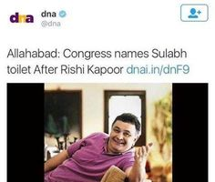 "Congress names ""Public toilet"" name on Rishi Kapoor because he opposed Congress named every scheme on ""Gandhi Family"" Congress where is freedom of speech ??? ‪#‎ShameOnCongress‬ ‪#‎Nonsense‬"
