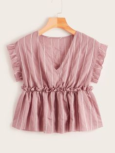 Product name: Vertical Striped Frill Trim Babydoll Blouse at SHEIN, Category: Blouses Dress Outfits, Casual Outfits, Cute Outfits, Teen Fashion Outfits, Fashion Dresses, Mode Chic, Vacation Dresses, Plus Size Blouses, Blouse Designs