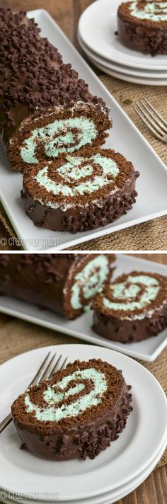 Mint Chip Cake Roll - an amazingly easy cake roll! Chocolate Roll Cake, Chocolate Desserts, Chocolate Lovers, Chocolate Ganache, Chocolate Roulade, Mint Chocolate Chips, Chocolate Muffins, Just Desserts, Delicious Desserts