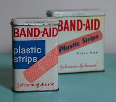 Vintage Band Aid Tins    When they came in tin containers and not boxes like now.