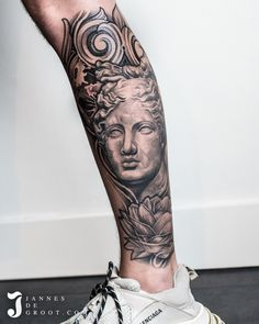 Realistic Artemis Peony Moon Filigree Leg Sleeve Tattoo - Jannes de Groot Tattoo Artemis, Photo And Video, Portrait, Instagram, Headshot Photography, Portrait Paintings, Drawings, Portraits