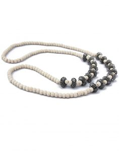 This wooden pincushion necklace made from natural wooden beads with creative grey color telephone wire pincushion inspired inserts, give you chic appeal. Wooden Necklace, Bangles, Bracelets, Online Gifts, Wooden Beads, Necklace Designs, Pin Cushions, Gifts For Women, South Africa