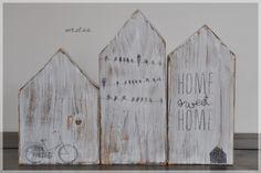Deko-Objekte - 3 Holzhäuser - shabby - ein Designerstück von art_of_66 bei DaWanda (Woodworking Art)