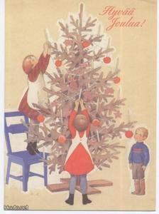 Rudolf Koivu - Tytöt kuusta koristamassa - 0.75 € - Sotilas-, vaakuna- ja lippuaiheiset - Postikortit - Keräily - Huuto.net - (avoin) Koti, Christmas Cards, Christmas Ornaments, Scandi Style, Book Illustration, Beautiful Christmas, Fairy Tales, Art Ideas, Beautiful Pictures
