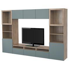 BESTÅ, TV-Komb. mit Vitrinentüren, grau las. Nussbaumnachb., Jetzt bestellen unter: https://moebel.ladendirekt.de/wohnzimmer/tv-hifi-moebel/tv-waende/?uid=0272a8e8-5603-5d45-a2c9-3d8a8bf16218&utm_source=pinterest&utm_medium=pin&utm_campaign=boards #tvwaende #wohnzimmer #tvhifimoebel