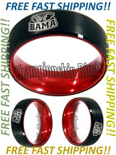 Alabama Crimson Tide Ring BAMA Wedding Ring Black & Red Tungsten Wedding Band | Sports Mem, Cards & Fan Shop, Fan Apparel & Souvenirs, College-NCAA | eBay!