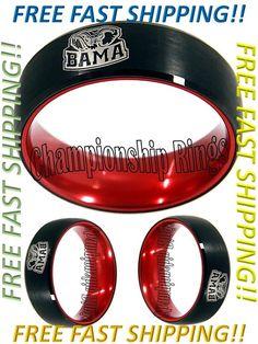 Alabama Crimson Tide Ring BAMA Wedding Ring Black & Red Tungsten Wedding Band #ChampionshipRings #AlabamaCrimsonTide