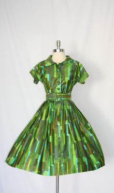 1950's Vintage Dress  Polished Cotton in Turquoise, Olive Green and Lime Green by VintageFrocksOfFancy