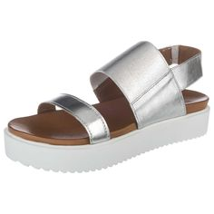 Sommerliche INUOVO Sandaletten aus Echtleder. Die Riemen schimmern im metallischen Glanz und sorgen für einen besonderen Blickfang.