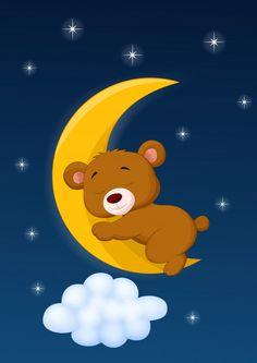 Stock vector of 'Vector illustration of Baby bear cartoon sleeping on the moon' Astronaut Cartoon, Bear Cartoon, Good Night Gif, Good Night Moon, Cute Wild Animals, Baby Animals, Teddy Bear Coloring Pages, Sleeping Animals, Bear Character