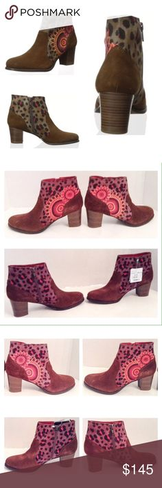 Desigual Selva Taupe Brown Suede Ankle Boot Desigual Selva taupe brown suede ankle boot.  Size 8 (EU 38) medium.  New with box. Rounded toe design with an all over pattern features an instep zip up and I wide, stacked heel.  Heel height: 2.25 inches; platform height .25 inches.  No trades. Desigual Shoes Ankle Boots & Booties