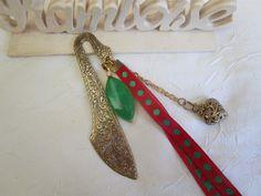 """Marque page grand modèle en métal doré """"Agate verte"""" de la boutique framboisefrancoise sur Etsy"""