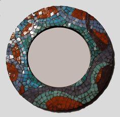 Espejo ondas con mosaico veneciano, artesanal