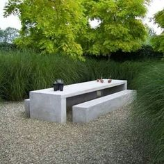 miscanthus w/ concrete table ~ by? - miscanthus w/ concrete table ~ by? Outdoor Areas, Outdoor Seating, Outdoor Rooms, Outdoor Dining, Outdoor Decor, Dining Area, Concrete Table, Concrete Furniture, Concrete Garden
