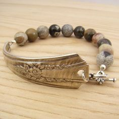 Spoon handle bracelet with silver leaf jasper by laurelmoonjewelry, $18.00