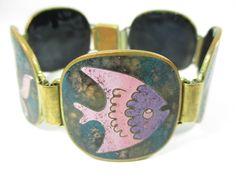 Stegemaille Armband Vintage 50er Schibensky ? Seepferd Fisch Emaille 26C N4