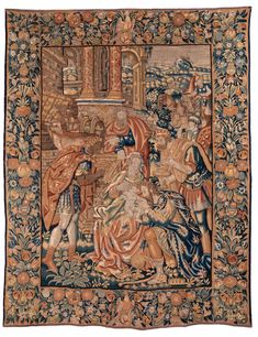 Höhe: 240 cm. Breite: 187 cm. Deutschland, 16. Jahrhundert. Der Bildteppich mit noch gänzlich erhaltener, breiter Einfassung zeigt im Mittelfeld die biblische...