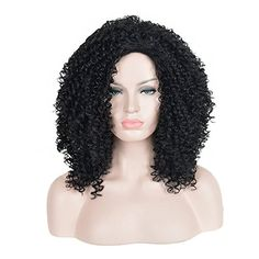 SiYi Afro Kinky Marley Braids Curly Hair 1969 Inch Medium Length Dreadlocks Wig African American Celebrity Fashion Black Wigs ** Click image to review more details.