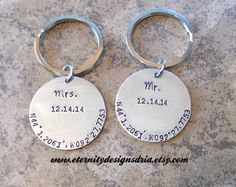 Handstamped personalized keychain Mr. & Mrs. Keychain/Coordinates keychain/wedding keychain/wedding date keychain - pinned by pin4etsy.com