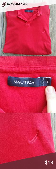 Nautica red polo shirt Nautica red polo shirt size LARGE. In good condition.   Bundle for a discount or make an offer!   029 Nautica Shirts Polos