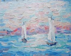 Seascape Original Oil Painting Boats in Sea Picture by FrozenLife