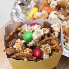 Sweet and Salty Popcorn Snack Mix Recipe Lunch and Snacks with Pop Secret Popcorn, Kellogg's® Crispix® Cereal, pretzels, butter, light brown sugar, light corn syrup, salt, M&M's Candy