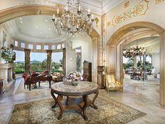 Luxurious living room and walkway