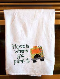 New to HandbagsByDyana on Etsy: Dish Towel Camping Towel Glamping  RV Decor Camping Decor RV Accessories Flour Sack Towel RV Gift Camper Decor Motorhome Decor (11.99 USD)