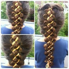 Pancaked french 4strand braid with ribbon