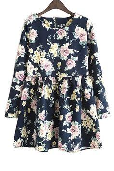 Long Sleeves Full Floral Print Dress CADETBLUE: Print Dresses | ZAFUL