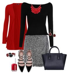 A fashion look from December 2015 by featuring WearAll, Zara, Karen Kane, Chico& Alexa Starr and Essie Red Cardigan Outfits, Preppy Outfits, Fashion Outfits, Work Outfits, Fall Outfits, Women's Fashion, Essie, Winter Teacher Outfits, Ale