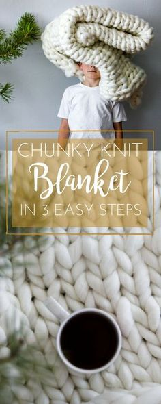 Chunky Knit Blanket DIY - Find out how to Chunky knit a Throw Blanket In 3 Easy . Chunky Knit Blanket DIY – Find out how to Chunky knit a Throw Blanket In 3 Easy Steps: It only to Chunky Knit Yarn, Chunky Knit Throw Blanket, Hand Knit Blanket, Make Blanket, Knit Cowl, Finger Knitting, Arm Knitting, Knitting Patterns, Blanket Patterns