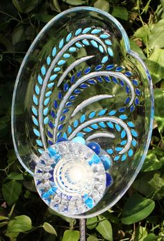 GARDEN and YARD  sun catcher recycled glass painted by GlassBlooms