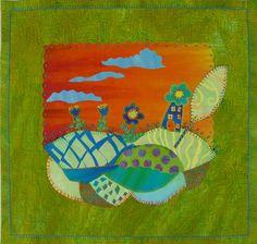 whimsy lane Art Quilt by Laura Wasilowski