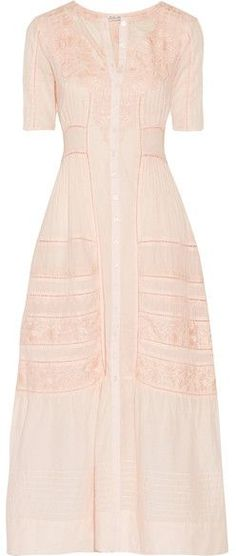 LoveShackFancy - Della Pointelle-trimmed Embroidered Cotton Maxi Dress - Pastel pink LoveShackFancy's 'Della' dress is intricately detailed with Edwardian-style embroidery, pintucked seams and pointelle trims. Cut from airy cotton, this pastel-pink style skims the waist before falling to a tiered, ankle-grazing hem. Wear yours from day to evening, switching flats for heeled sandals.