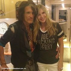 On the bus with Joe & Billie Dallas Aerosmith Steven Tyler Aerosmith, Joe Perry, Hello Sweetie, Rock Bands, Rock And Roll, T Shirts For Women, Bling, Dallas, Instruments