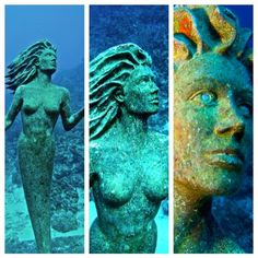 Amphitrite - A triptic of the underwater guardian of Sunset House in Grand Cayman