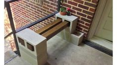 Accessories & furniture,Entice Terrace With Natural Concrete Block Bench Feat Beam Wooden Seating And Iron Deck Railing Complete Concrete Deck Combine Natural Brick Wall Design,Entice Concrete Block Bench Design Ideas Cinder Block Furniture, Cinder Block Bench, Cinder Blocks, Concrete Furniture, Concrete Deck, Concrete Blocks, Concrete Garden, Patio Oasis Ideas, Gardens
