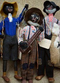 3 Folk 1930 Black Nut Head Dolls Fisherman BanjoPlayer