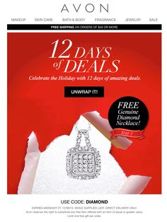 Who says diamonds aren't a girl best friend ... Exclusive ONLY TODAY for our Avon eStore Customers FREE DIAMOND NECKLACE with any order of $75+ Use Code: DIAMOND  Go to www.youravon.com/si  #buyavon #sellavon #avonrep #avonstore #skinsosoft #bugguard #avononline #lipstick #beauty #avon #becomearep #statenisland #brooklyn #bronx #longisland #queens #newyork #newjersey #avonbrochure #freeshipping #shopfromhome  #christmas #gifts #kitchen #holidaygift #holiday #homeliving #makeup #diamonds