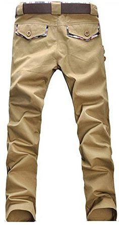 Jistar Mens Stylish Slim Fit Casual Pants Skinny Straight Trousers (Asian L(US S), Khaki)