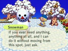 Animal Crossing snowman