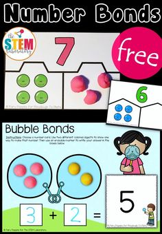 Solve missing addends with playdough, set up a fun math center with write and wipe cards. There are somefree Number Bond Activities! Fun math centers for kindergarten and first grade! Teaching Numbers, Numbers Kindergarten, Math Numbers, Decomposing Numbers, Kindergarten Math Stations, 1st Grade Math Games, Kindergarten Addition, Math For Kids, Fun Math