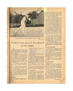 Doc / Clipping (Ref Uej 36) 1939: LA PELOTE BASQUE LEMOINE 1page | eBay