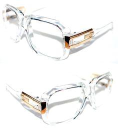 bb8ef82d7d1 Vintage 623 Men s Hip Hop Clear Lens Eye Glasses Matte Clear Gold  Grandmaster  Spexx  Square
