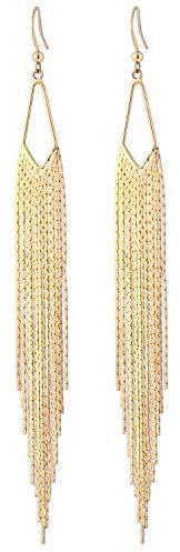 Long Drop Dangle Statement Earrings 18k Gold Hook Sleek Chain Tassel Earrings Minimalism Dainty Party Jewelry Gift for Women