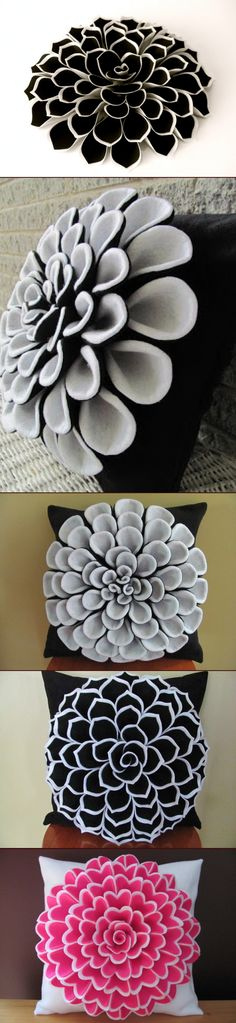 Felt Flower Pillow Pattern ISABELLA FLOWER Pillow Pattern with 2 Bonus Pillow…